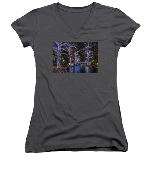 Women's V-Neck T-Shirt featuring the photograph Riverwalk Christmas by Steven Sparks