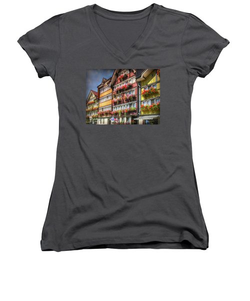 Women's V-Neck T-Shirt featuring the photograph Row Of Swiss Houses by Hanny Heim