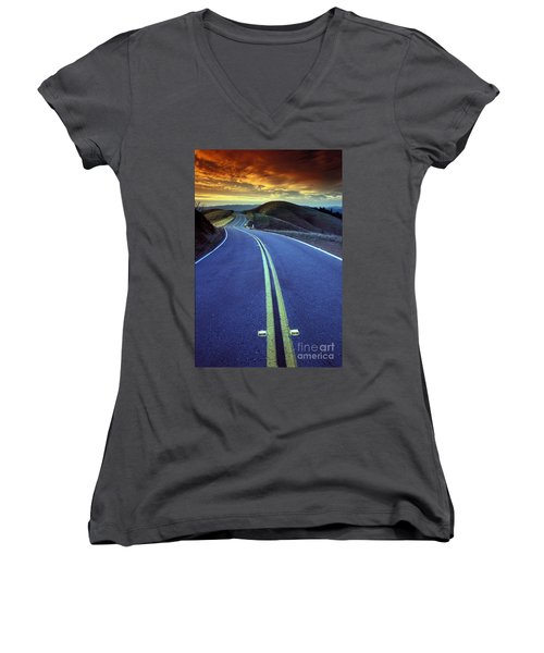 Road In The Mountains Women's V-Neck (Athletic Fit)