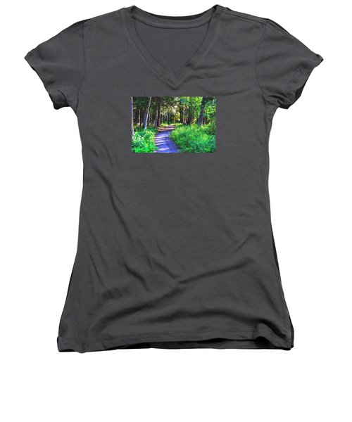 Women's V-Neck T-Shirt (Junior Cut) featuring the photograph Road Less Traveled by Susan Crossman Buscho