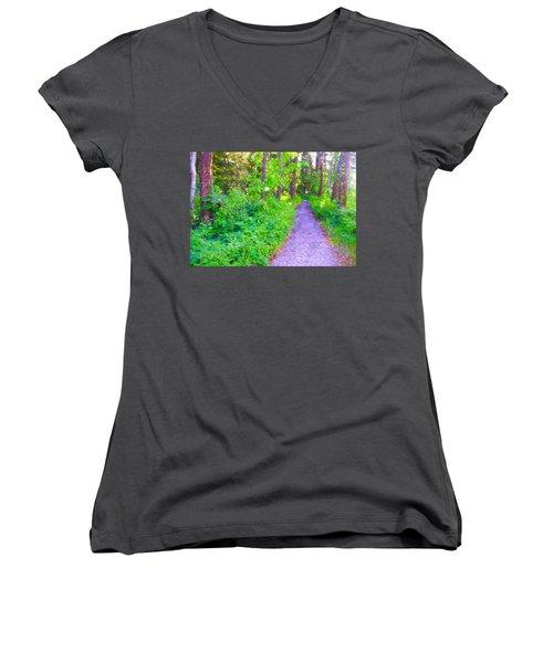 Road More Traveled Women's V-Neck T-Shirt (Junior Cut) by Susan Crossman Buscho