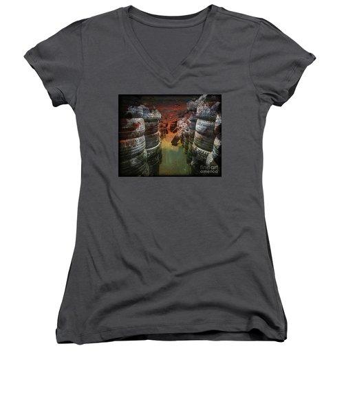 Road Rash Women's V-Neck T-Shirt (Junior Cut) by Deborah Nakano