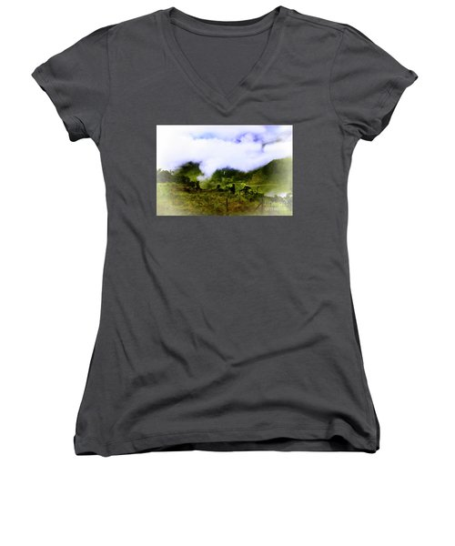 Women's V-Neck T-Shirt (Junior Cut) featuring the photograph Road Through The Andes by Al Bourassa