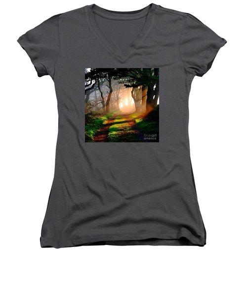 Road Through The Woods Women's V-Neck T-Shirt