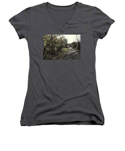 Road To Covered Bridge Women's V-Neck (Athletic Fit)