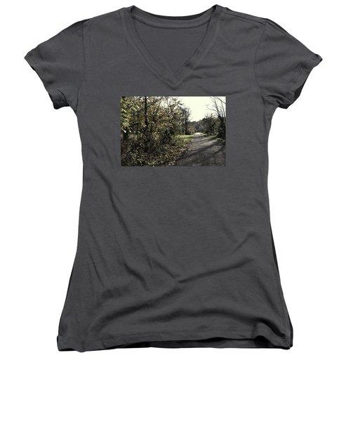 Road To Covered Bridge Women's V-Neck T-Shirt