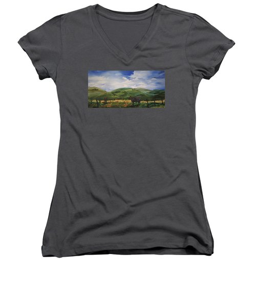 Road To Melrose, Montana         32 Women's V-Neck (Athletic Fit)