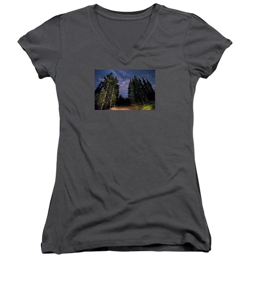 Road To Milky Way Women's V-Neck T-Shirt (Junior Cut) by Michael J Bauer