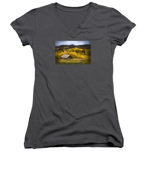 Women's V-Neck T-Shirt (Junior Cut) featuring the photograph Road To Steamboat Lake by John Hix