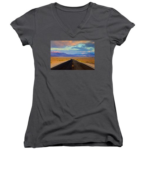 Women's V-Neck T-Shirt (Junior Cut) featuring the photograph Road To The Dreams by Evgeny Vasenev