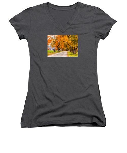 Road To The Farm Women's V-Neck T-Shirt (Junior Cut) by Tim Kirchoff