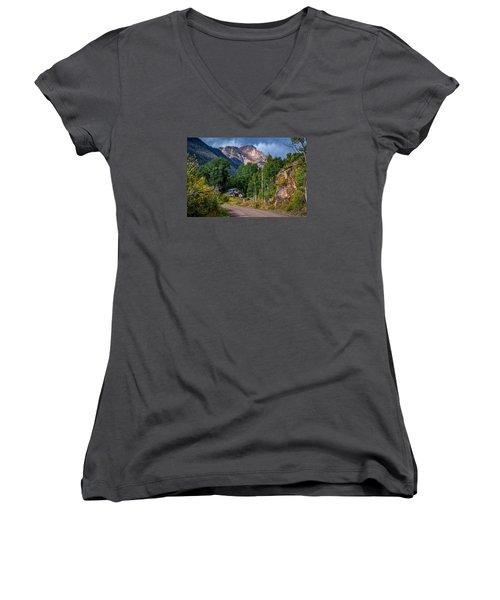 Road Towards Cinnamon Pass Women's V-Neck T-Shirt (Junior Cut) by Michael J Bauer