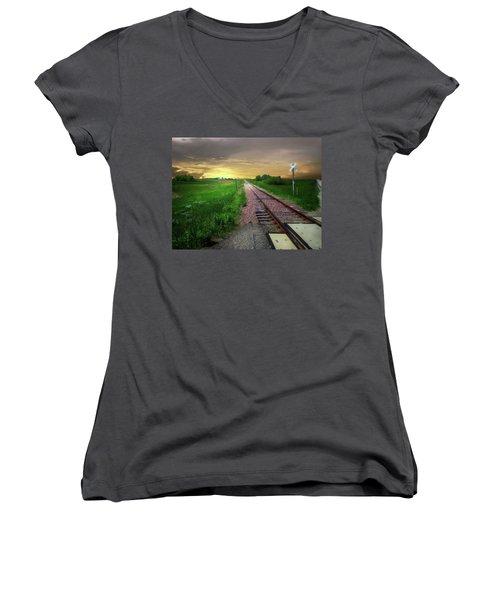 Road Track Crossing Women's V-Neck T-Shirt