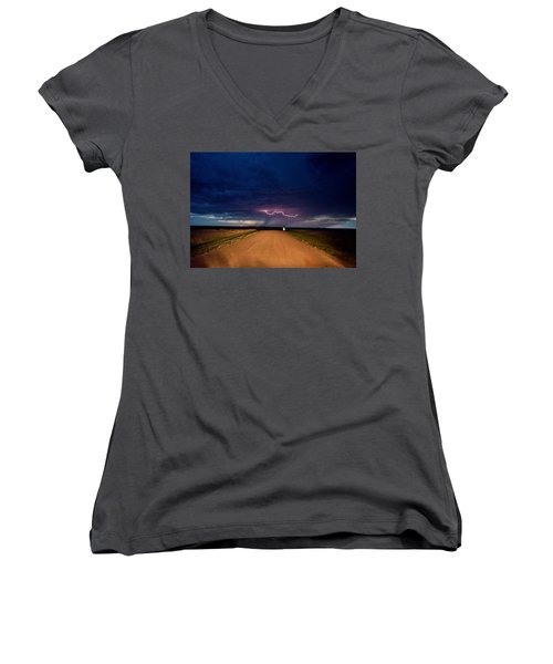 Road Under The Storm Women's V-Neck T-Shirt (Junior Cut) by Ed Sweeney
