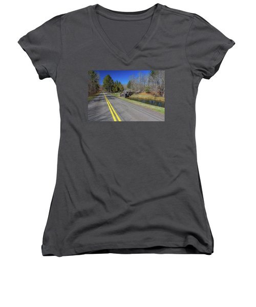 Road View Of Mabry Mill Women's V-Neck (Athletic Fit)