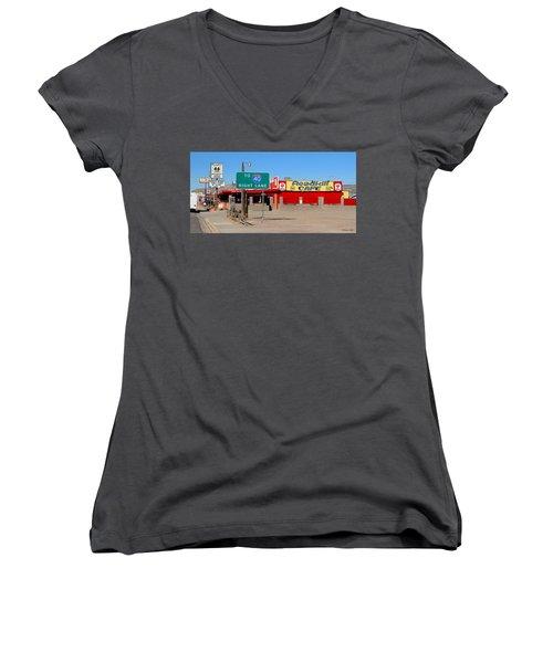 Roadkill Cafe, Route 66, Seligman Arizona Women's V-Neck