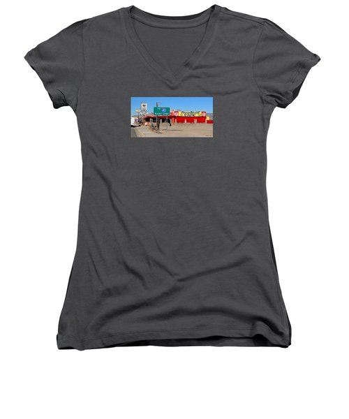 Roadkill Cafe, Route 66, Seligman Arizona Women's V-Neck (Athletic Fit)