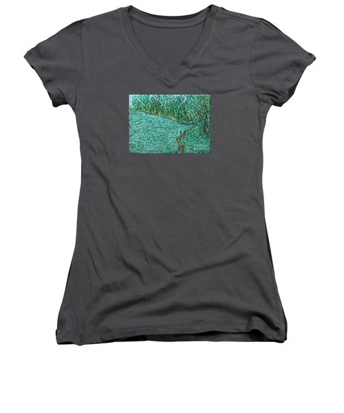 Roadside Green Women's V-Neck T-Shirt (Junior Cut) by Anna Yurasovsky