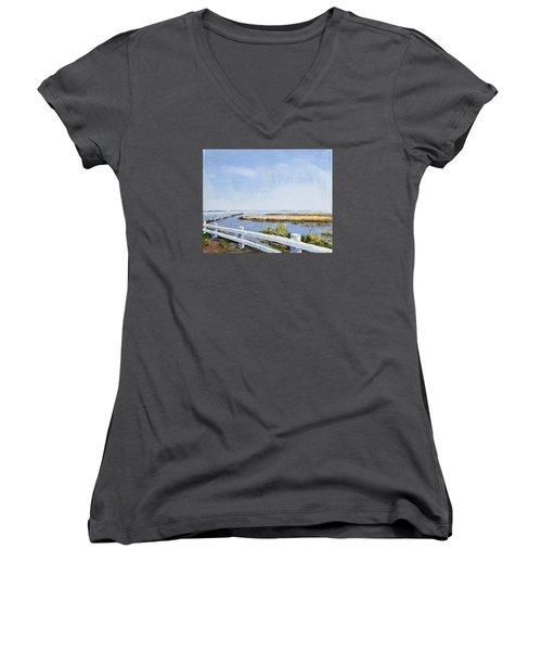 Roadside P-town Women's V-Neck T-Shirt (Junior Cut) by Trina Teele