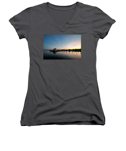 Roanoke Marshes Lighthouse At Dusk Women's V-Neck T-Shirt (Junior Cut) by David Sutton
