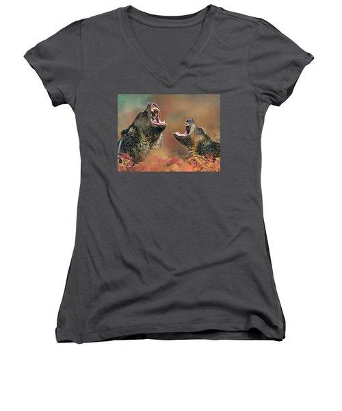 Roaring Bears Women's V-Neck T-Shirt