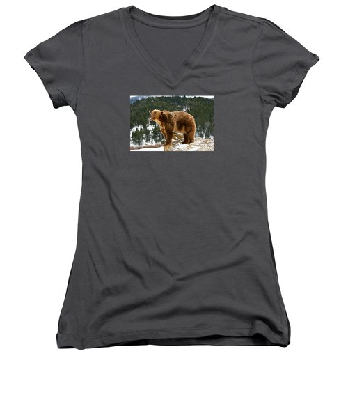 Roaring Grizzly On Rock Women's V-Neck