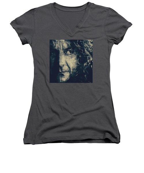 Robert Plant - Led Zeppelin Women's V-Neck (Athletic Fit)