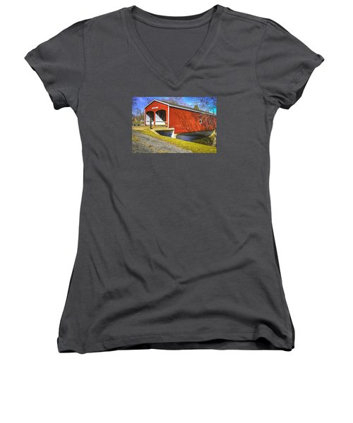 Roberts Covered Bridge Women's V-Neck (Athletic Fit)