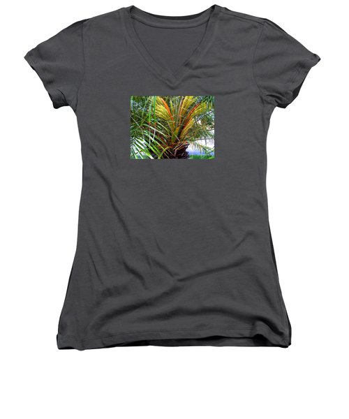 Women's V-Neck T-Shirt (Junior Cut) featuring the photograph Robillini Palm In Bloom by Merton Allen