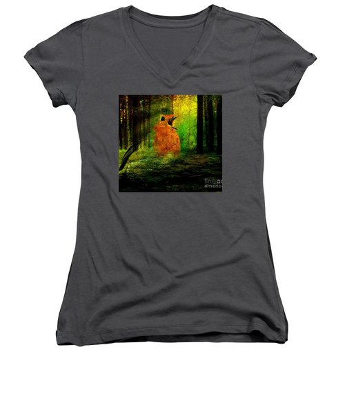 Robin In The Forest Women's V-Neck T-Shirt (Junior Cut) by Annie Zeno