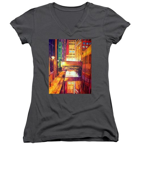 Rochdale Canal With Lock At Night Women's V-Neck T-Shirt