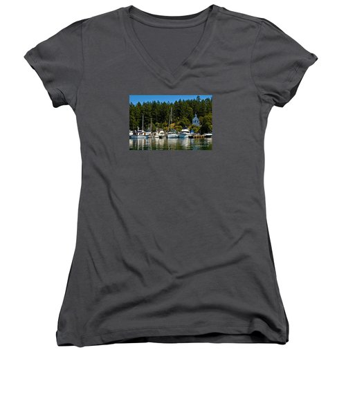 Roche Harbor Marina Women's V-Neck T-Shirt