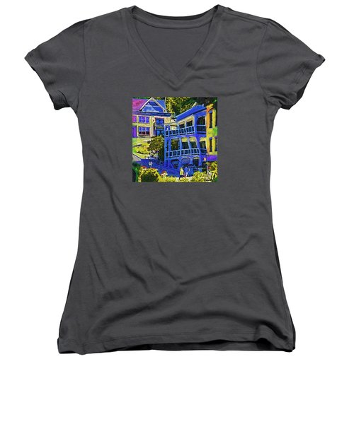 Women's V-Neck T-Shirt (Junior Cut) featuring the digital art Roche Harbor Street Scene by Kirt Tisdale