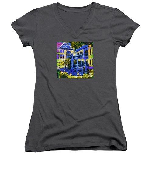 Roche Harbor Street Scene Women's V-Neck T-Shirt
