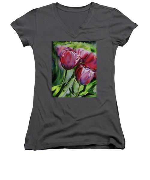 Rochelle's Springtime Tulips Women's V-Neck (Athletic Fit)