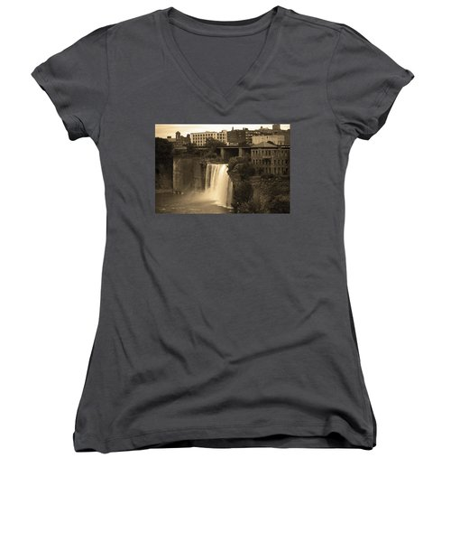 Women's V-Neck T-Shirt (Junior Cut) featuring the photograph Rochester, New York - High Falls 2 Sepia by Frank Romeo