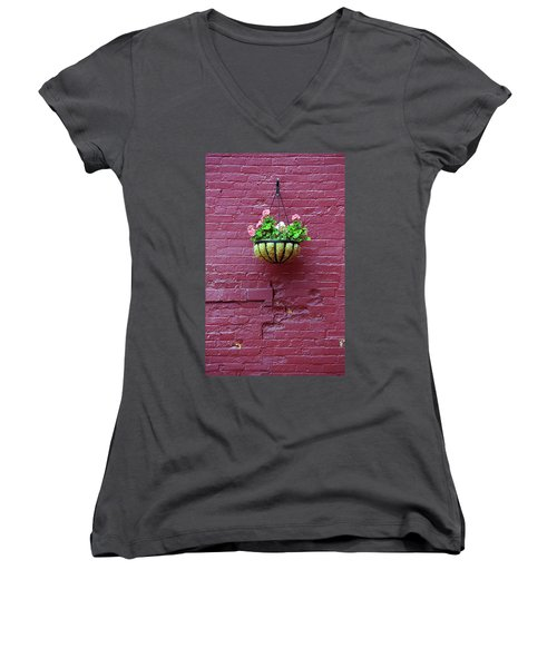 Women's V-Neck T-Shirt (Junior Cut) featuring the photograph Rochester, New York - Purple Wall by Frank Romeo