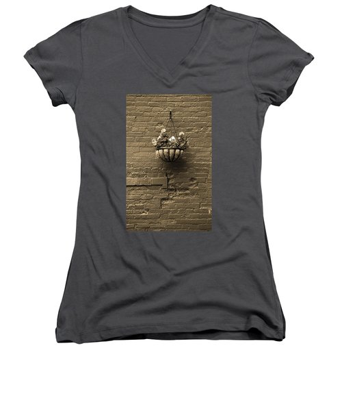 Women's V-Neck T-Shirt (Junior Cut) featuring the photograph Rochester, New York - Wall And Flowers Sepia by Frank Romeo