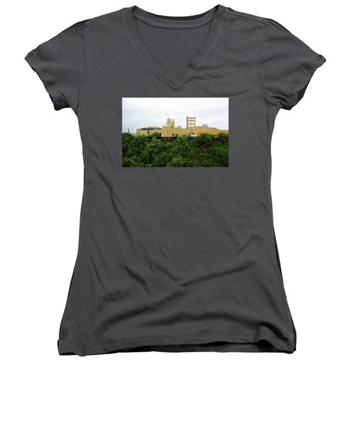Women's V-Neck T-Shirt (Junior Cut) featuring the photograph Rochester, Ny - Factory On A Hill by Frank Romeo