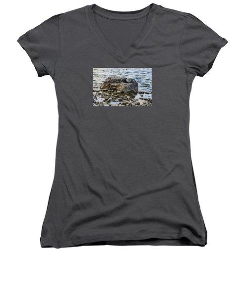Women's V-Neck T-Shirt (Junior Cut) featuring the photograph Rock And Roll by Deborah Smolinske