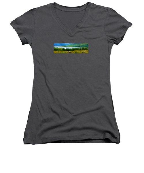 Rock Cairns In Scotland Women's V-Neck T-Shirt (Junior Cut) by Judi Bagwell