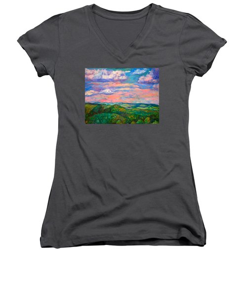 Women's V-Neck T-Shirt (Junior Cut) featuring the painting Rock Castle Gorge by Kendall Kessler