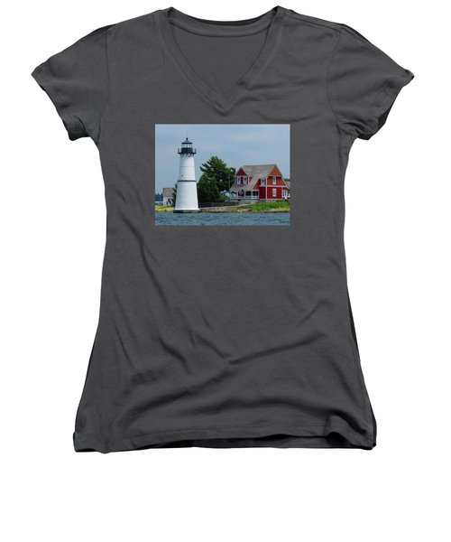 Rock Island Lighthouse July Women's V-Neck (Athletic Fit)