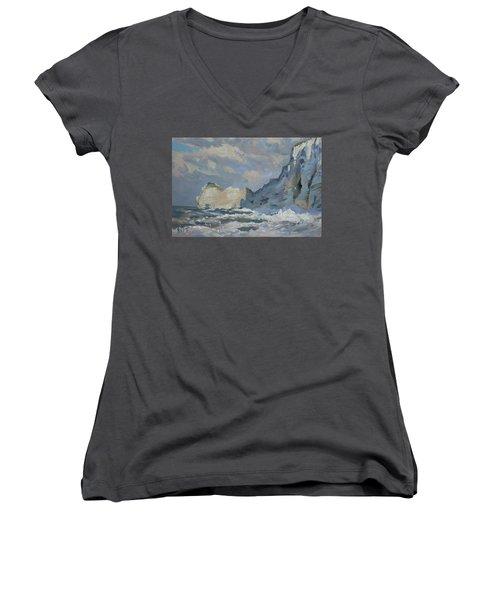 Rock Of Amont Etretat Women's V-Neck T-Shirt