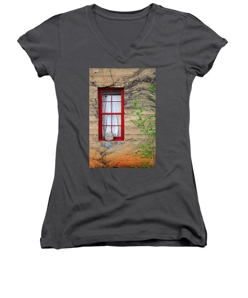 Women's V-Neck T-Shirt (Junior Cut) featuring the photograph Rock On A Red Window by James Eddy