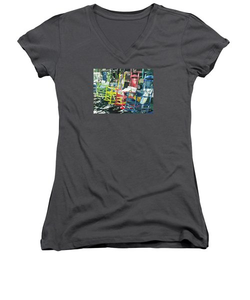 Rock On Women's V-Neck T-Shirt (Junior Cut) by LeAnne Sowa