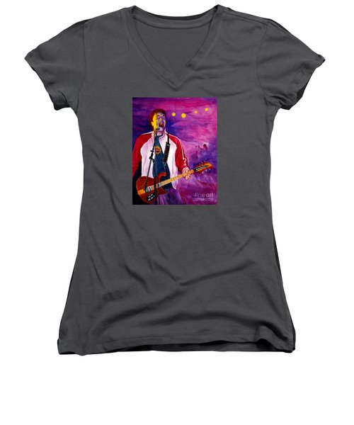 Rock On Tom Women's V-Neck T-Shirt (Junior Cut) by Nancy Cupp