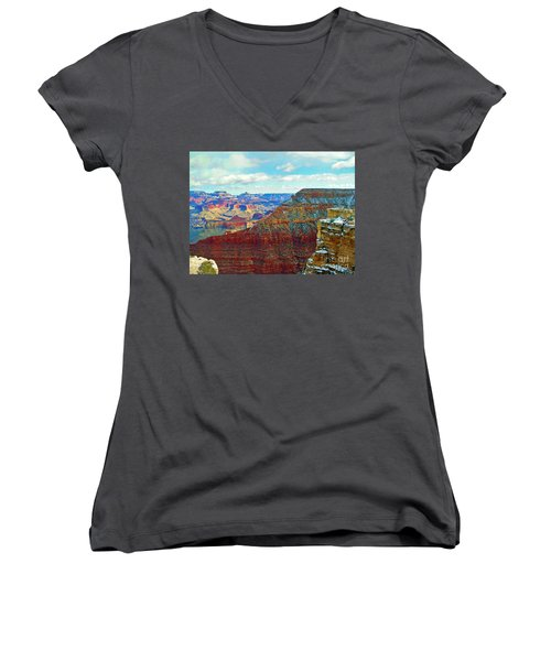 Women's V-Neck T-Shirt (Junior Cut) featuring the photograph Rock Solid by Roberta Byram