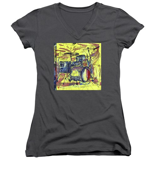 Rockin Drums Women's V-Neck T-Shirt