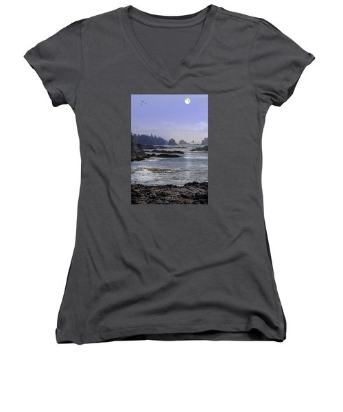 Rocks And Moon And Water Women's V-Neck